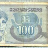 A1823 BANCNOTA- YUGOSLAVIA - 100 DINARA - 1992 -SERIA 6050602-starea ce se vede