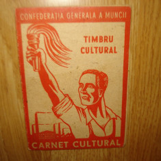 CARNET CULTURAL C.G.M -TIMBRU CULTURAL - Diploma/Certificat