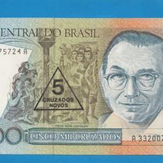 Brazilia 5000 cruzados ND 1988 UNC - bancnota america