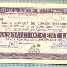A1849 CEC DE CALATORIE -BRCE -100 LEI- 1975 -SERIA 2079336-starea se vede - Cambie si Cec