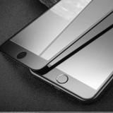 Folie sticla tot ecranul Xoomz, iPHONE 7 PLUS, rama siliconica curbata, NEGRU - Folie de protectie