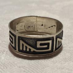 Inel argint vechi motive Egiptene tip verigheta finut Elegant de Efect vintage