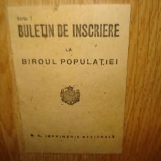 BULETIN DE INSCRIERE LA BIROUL POPULATIEI NESCRIS - Pasaport/Document