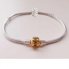 Bratara Pandora placata cu argint 925 + 2 charm swarovski cadou - 20, 21 cm - Bratara argint pandora, Femei