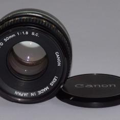 Obiectiv Canon FD 50mm F1.8 S.C. + capac fata - Transport gratuit prin posta! - Obiectiv DSLR Canon, Manual focus