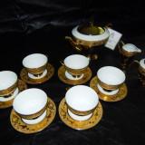 Servici ceai placat cu aur -Glass Porcelain Manufacturers Debelly