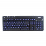 TASTATURA A4TECH KD-126-1 USB, Backlight, Black- blue light