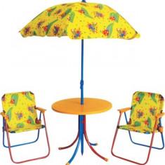 Set mobila de gradina pentru copii masa rotunda cu 2 scaune si umbrela MN016662 Raki