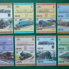 Nevis 1983 locomotive, trenuri - serie nestampilata MNH - Timbre straine
