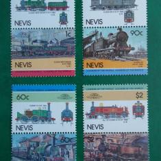 Nevis 1985 locomotive, trenuri - serie nestampilata MNH - Timbre straine
