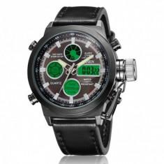 Ceas Sport/Militar, Dual Display, Rezistent la Apa, Timer, Alarma, etc - Ceas barbatesc, Casual, Quartz, Otel, Piele ecologica