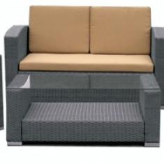 Set mobila terasa, gradina din ratan 4 piese masa, canapea si 2 fotolii culoare gri Raki