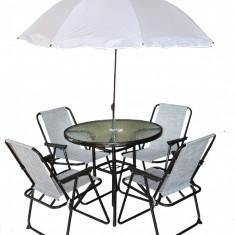 Set mobila de gradina, terasa CET masa rotunda 80cm cu 4 scaune alb MN01J7021 umbrela Raki