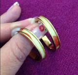 PROMOTIE - Cercei rotunzi placati cu aur galben 18k  - Produs gravat