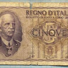 A1859 BANCNOTA - ITALIA- 5 LIRE -1940-SERIA 758340-starea se vede