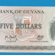 Guyana 5 dollars 1966 1992 UNC B - bancnota america