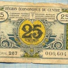A1853 BANCNOTA-NOTGELD- FRANTA -25 CENTIMES -1924? -SERIA000,604-starea se vede