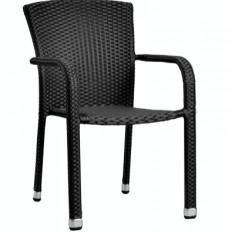 Scaun cu brate din ratan PVC MN0195301 culoare neagra Raki