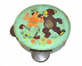 Jucarie veche romaneasca, tamburina Agatex din tabla, anii '70