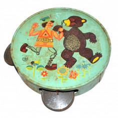 Jucarie veche romaneasca, tamburina Agatex din tabla, anii '70 - Jucarie de colectie