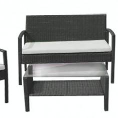 Set mobila terasa, gradina din ratan 4 piese masa, canapea si 2 scaune cu brate culoare cafea Raki