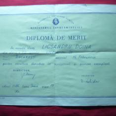 Diploma de Merit 1966, dim.=25x17 cm, Liceul nr.21 - Diploma/Certificat