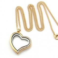 Lant colier cu Medalion pentru amintiri Pandora floating charm placat aur 14k - Lantisor placate cu aur, Femei