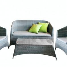 Set mobila terasa, gradina din ratan 4 piese masa, canapea si 2 fotolii culoare gri si perne scaun Raki