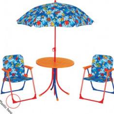 Set mobila de gradina pentru copii masa rotunda cu 2 scaune si umbrela MN016663 Raki