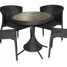 Set KAROLINA mobila terasa, gradina din ratan 5 piese masa rotunda 75cm si 4 scaune Raki