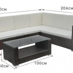 Mobilier terasa colt din ratan masa 100x50x40cm si canapea colt 260x206x80x75cm culoare gri Raki