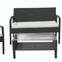 Set mobila terasa, gradina din ratan 4 piese masa, canapea si 2 scaune cu brate culoare gri Raki
