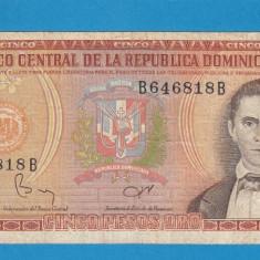 Republica Dominicana 5 pesos 1982 - bancnota america