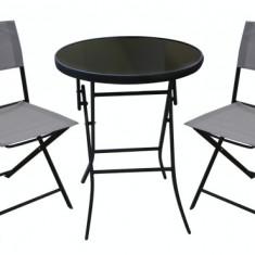 Set mobila de gradina, terasa BISTRO masa rotunda 60cm cu 2 scaune gri MN0195200 Raki
