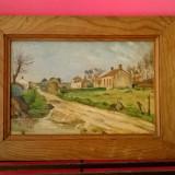 TABLOU INTERBELIC ULEI PE PANZA PEISAJ RUSTIC LA FRONTIERA SEMNAT E.VOYER.1937, Peisaje, Impresionism