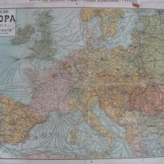Harta - Europa Centrala - Cai ferate si Linii de navigatie