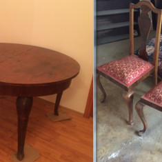 Sufragerie vintage lemn masiv de nuc: Masa ovala/6 scaune/3 servante - Set mobila living
