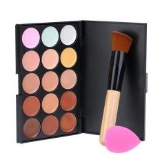 Trusa machiaj MAC fond de ten 15 culori concealer + pensula kabuki + buretel ou