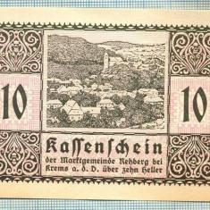 A2018 BANCNOTA NOTGELD- AUSTRIA-10 HELLER -1920-SERIA FARA-starea care se vede - bancnota europa