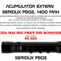 Acumulator extern Serioux PB02 Cu lanterna LED + Semnalizare, 1400 mAh - Baterie externa