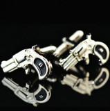 Butoni camasa model  revolver PISTOL argintii  + cutie simpla cadou