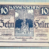 A2104 BANCNOTA NOTGELD- AUSTRIA 10 HELLER -1920-SERIA FARA-starea care se vede - bancnota europa