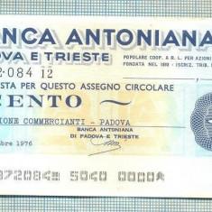 A2193 ASIGNAT BILET BANCA ANTONIANA DI PADOVA - 100 LIRE-starea cese vede - Cambie si Cec