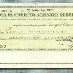 A2187ASIGNAT BILET BANCA DI CREDITO AGRARIO DI FERRARA-100 LIRE-starea cese vede - Cambie si Cec