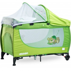 Patut pliant Grande cu vibratii 120 x 60 cm Green Caretero - Patut pliant bebelusi Caretero, Verde