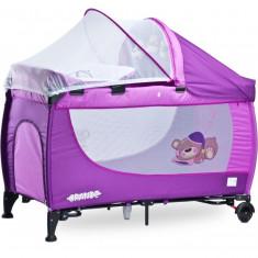 Patut pliant Grande cu vibratii 120 x 60 cm Purple Caretero - Patut pliant bebelusi Caretero, Violet