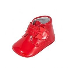 Ghetute rosii cu fundita din lac 17 (10 cm) Leon Shoes - Ghete copii, Rosu