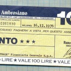 A2195 ASIGNAT BILET BANCA BANCO AMBROSIANO - 100 LIRE-starea cese vede - Cambie si Cec