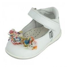 Pantofi cu flori aplicate multicolore 21 Melania - Pantofi copii Melania, Alb