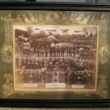 Fotografie mare militara germana cu ofiteri si soldati din perioada WW1 63x78cm - Fotografie veche